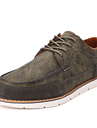 Men's Oxfords Spring Fall Winter Comfort Fabric Outdoor Casual Athletic Flat Heel Brown Gray Khaki