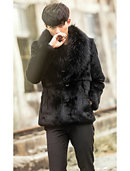 Men's Going out / Casual/Daily Vintage / Simple Fur Coat,Solid Shirt Collar Long Sleeve Winter Black Faux Fur