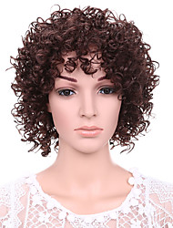 Short Afro Curly Wave Hair Auburn Color Synthetic Wigs for Women
