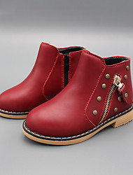 Girl's Boots Spring Fall Winter Other Comfort PU Casual Zipper Black Red
