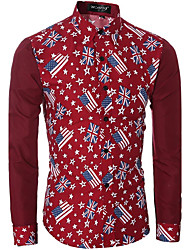 Masculino Camisa Social Casual Simples Primavera / Outono,Floral Azul / Vermelho Algodão Colarinho de Camisa Manga Longa Média