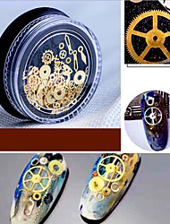 1 Box Nail New Sole Diy Time Gear Steampunk Wind Mechanical Nail Patch Ornament