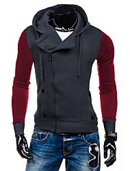 Normal Hoodies Hommes Décontracté / Quotidien / Sportif simple / Actif,Couleur Pleine Bleu / Noir / Gris Capuche Manches Longues Coton
