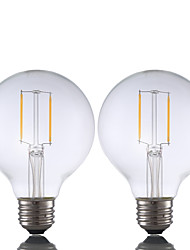 2W E26 Lâmpadas de Filamento de LED G80 2 COB 220 lm Branco Quente Regulável AC 110-130 V 2 pçs