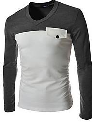 Tee-shirt Hommes,Couleur Pleine Sortie / Décontracté / Quotidien simple Manches Longues Col en V Marron / Gris Coton Moyen