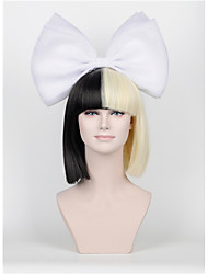 New Short paragraph Hair Bow Set Long Bangs Half Black Half Blonde Sia Styling Party Wigs High - end mesh  white Big bow