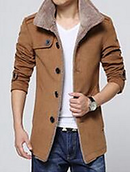 Men's Going out / Casual/Daily Simple Jackets,Solid Shirt Collar Long Sleeve Blue / Black / Brown Cotton