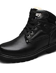 Herren-Stiefel-Lässig-Leder-Flacher Absatz-Komfort-Schwarz Khaki