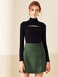 Damen Röcke,A-Linie einfarbigLässig/Alltäglich Einfach Mittlere Hüfthöhe Über dem Knie Elastizität Polyester Micro-elastischRiemengurte /