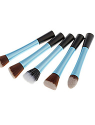 5pcs Makeup Brushes Set Professional Blush/Powder Brush Light Blue Metal Handle