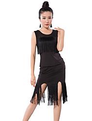 Latin Dance Outfits Women's Training Tulle / Milk Fiber Tassel(s) 2 Pieces Black/ Red Latin Dance Sleeveless NaturalTop