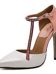 Women's Heels Summer Ankle Strap Leatherette Dress Stiletto Heel Sparkling Glitter Black Pink