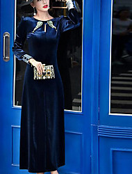 Women's Going out / Formal Simple Sheath Dress,Solid Round Neck Maxi Long Sleeve Blue Cotton Fall / Winter High Rise Inelastic Medium