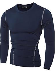 Herren Solide Sexy Sportkleidung T-shirt,Rundhalsausschnitt Herbst Winter Langarm Polyester Mittel