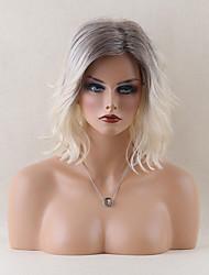 élégant capless mi-longueur perruques ondulées naturelle perruques ombre de cheveux humains