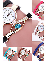 Lady's Bohemian Style Rivet Tissue Pendant Leather Band Gold Case Analog Quartz Bracelet Fashion Watch
