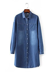 Women's Going out / Casual/Daily Simple / Street chic Denim Dress,Solid Shirt Collar Knee-length Long Sleeve Blue Polyester / NylonAll