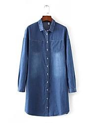 Denim Robe Femme Sortie / Décontracté / Quotidien simple / Chic de Rue,Couleur Pleine Col de Chemise Mi-long Manches Longues Bleu