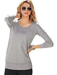 Damen Solide Sexy / Einfach / Aktiv Ausgehen / Lässig/Alltäglich / Sport T-shirt,Rundhalsausschnitt Frühling / Herbst LangarmRosa / Rot /