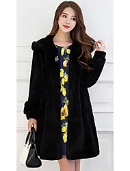 Women's Going out / Party/Cocktail Street chic Fur Coat,Solid Hooded Long Sleeve Winter Black Faux Fur Medium