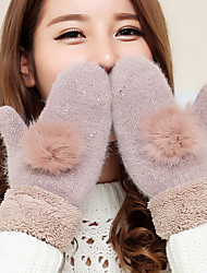 Women's The Rabbit Hair Bulb Lamb Fur Fingertips Wrist Length Animal Print Cute Winter Gloves