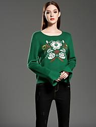 Damen Kurz Pullover-Lässig/Alltäglich Retro Stickerei Schwarz Grün Rundhalsausschnitt Langarm Kunstseide Acryl Winter Mittel