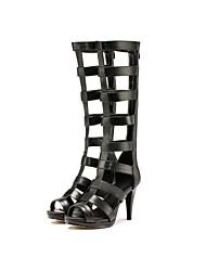 Feminino-Botas-Plataforma Gladiador Sapatos clube Conforto-Salto Agulha Plataforma-Preto-Couro Ecológico-Casual Para Esporte Festas &