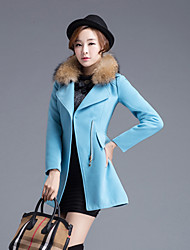 Women's Casual/Daily Simple Coat,Solid Long Sleeve Blue / Red / Green Wool