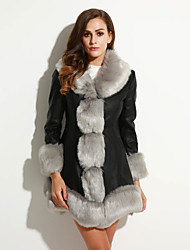 Women's Plus Size /  Party/Cocktail Sexy / Simple Fur Coat,Solid / Patchwork Shawl Lapel Long Sleeve Fall /