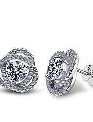 Earring AAA Cubic Zirconia Stud Earrings Jewelry Women Halloween / Wedding / Party / Daily / Casual Sterling Silver / Cubic Zirconia1