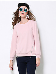 Normal Pullover Femme Décontracté / Quotidien / Grandes Tailles simple,Couleur Pleine Rose Col Arrondi Manches Longues Polyester / Spandex