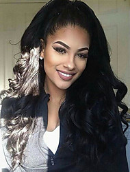 Natural Looking Body  Wave Hairstyle Dark Black Color Brazilian Virgin Human Hair Lace Front Wig With Baby Hair