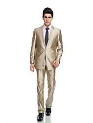 2017 Tuxedos Tailored Fit Peak Single Breasted Two-buttons Wool & Polyester Blended Solid 2 Pieces Champagne