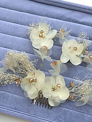 Women's Rhinestone Alloy Chiffon Headpiece-Wedding Special Occasion Hair Combs Flowers Wreaths 3 Pieces
