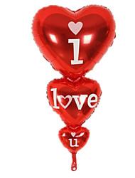 Balões Decoração Para Festas Forma de Coração alumínio Vermelho Para Meninos / Para Meninas 5 a 7 Anos / 8 a 13 Anos