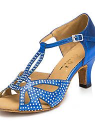 Zapatos de baile(Negro / Azul / Gris) -Latino / Jazz / Zapatillas de Baile / Moderno-Personalizables-Tacón Cuadrado