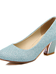 Damen-High Heels-Büro Kleid Lässig-Kunstleder-BlockabsatzSilber Blau Mandelfarben