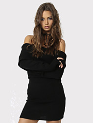 Women's Casual/Daily / Club Solid / Sexy Bodycon Slim Backless Off-The-Shoulder DressSolid Boat Neck Above Knee Long Sleeve Spring / FallMid