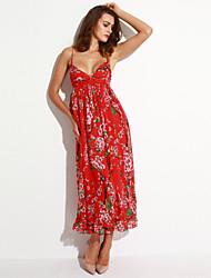 Mulheres Vestido Chifon / Swing Boho / Moda de Rua Floral Maxi Com Alças Algodão / Poliéster