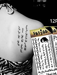 12 Tatuagens Adesivas Série Florida / Séries Totem / Outros / Série dos desenhos animadosnão tóxica / Estampado / Tribal / Lombar / Á
