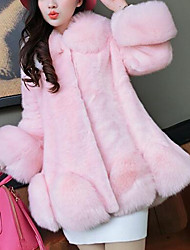 Women's Casual/Daily Simple Fur Coat,Solid Long Sleeve Pink / White Faux Fur