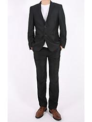 costumes Hommes,Couleur Pleine Décontracté / Quotidien simple Toutes les Saisons Manches Longues Col de Chemise Noir Coton