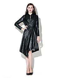 Women's Plus Size Sophisticated Trench Coat,Solid Stand Long Sleeve Winter Black PU Medium