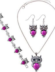 May Polly  Fashion with Owl Necklace Earrings Bracelet Set