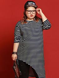 Tee-shirt Femme,Rayé Décontracté / Quotidien / Grandes Tailles simple Automne Manches ¾ Col Arrondi Noir Coton / Polyester / Spandex
