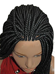 black Color Braiding Wig Synthetic Lace Front Wigs For Afro Women Braided Lace Front Wigs Long Synthetic Wigs Heat Resistant for Black Women1pc