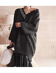 Damen Lang Pullover-Lässig/Alltäglich Einfach Solide Grau V-Ausschnitt Langarm Acryl Herbst Winter Dick Mikro-elastisch