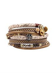 Fashion Women Trendy Multi Rows Printed Leather Rhinestone Set Charm Wrap Bracelet