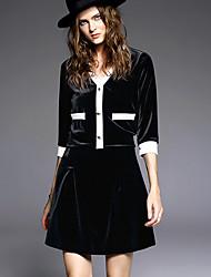 Set Jupe Costumes Femme,Couleur Pleine Décontracté / Quotidien Vintage Hiver Manches ¾ Col en V Noir Polyester Moyen