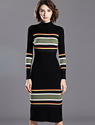 INPLUS LADY Women's Casual/Daily Simple Sheath DressStriped Stand Midi Long Sleeve Black Wool / Acrylic Fall Mid Rise Micro-elastic Medium